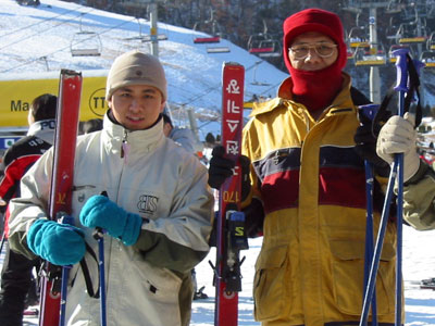 With father skiing in Korea