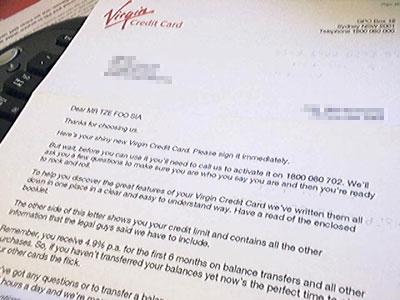 Virgin Credit Card Approval letter
