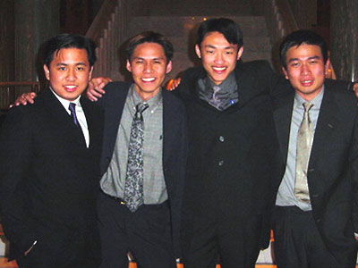 The 4 ISO Presidents of WA in 2001. Kenny (Curtin), Nick Tan (ECU), Steven Han (Murdoch), and Lendon Chong (UWA)