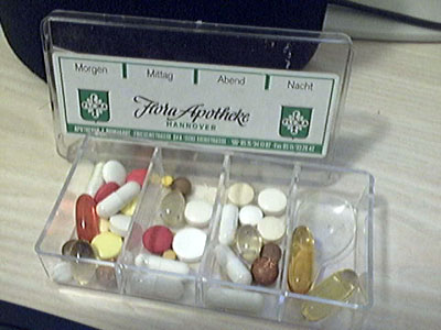 My father's pill box - all the pills for ONE DAY