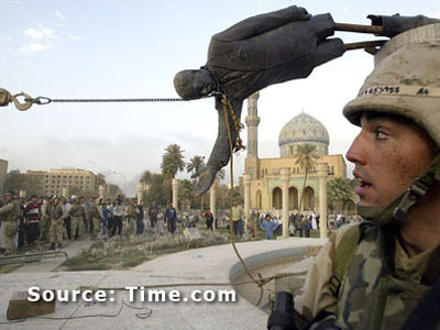 Statue of Saddam toppling down
