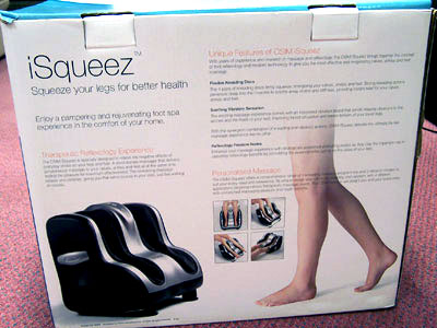 Osim iSqueeze back of the box
