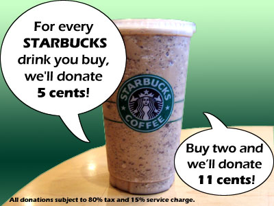Starbucks donation drive