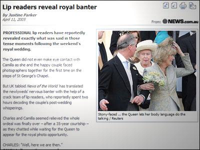 LIP READERS REVEAL ROYAL BANTER